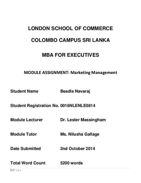 Of Colombo Mba Syllabus by Marketing Management