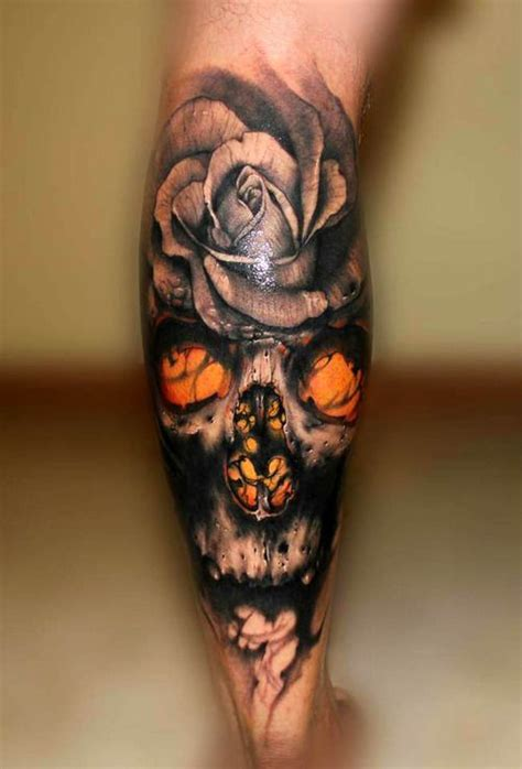 Color flowers and skull 3d tattoos   All Tattoos For Men