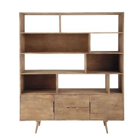 solid mango wood vintage bookcase in grey w 162cm
