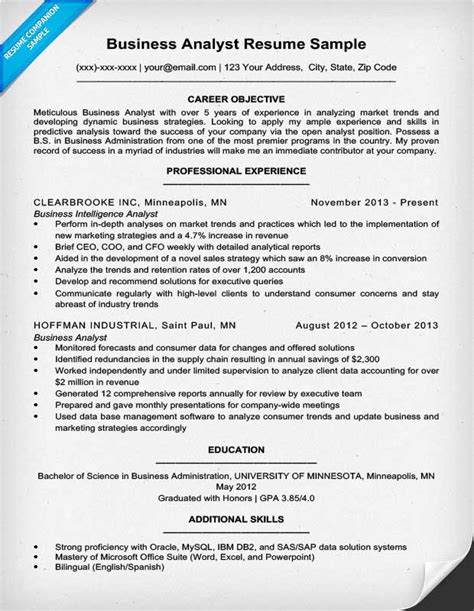 business analyst cv sles business analyst resume sle writing tips resume companion