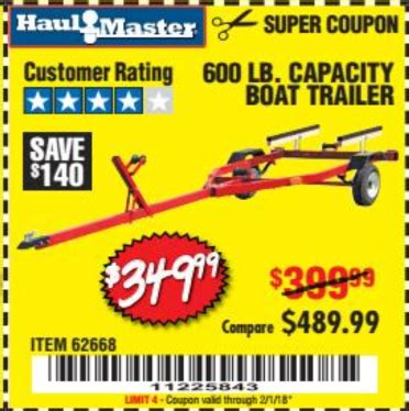 harbor freight 600 lb boat trailer harbor freight tools coupon database free coupons 25
