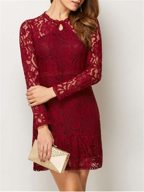 Heathani Lace Longsleeve Mini Dress openwork sleeve lace mini dress lace dresses xl