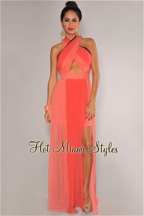 One Shoulder Dress 16402 coral ombre ruched peep bust maxi dress