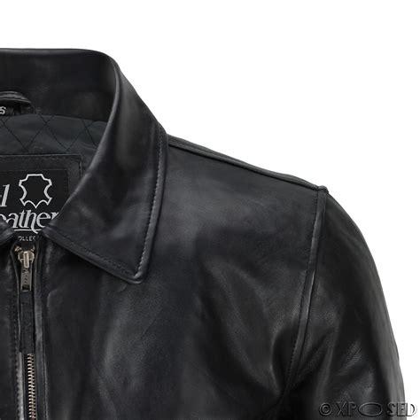 mens leather bomber mens black soft real leather vintage collar bomber style biker jacket all sizes ebay