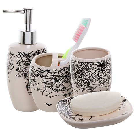 Toothbrush Holder Bathroom Accessories 4 Piece Beige Ceramic Bathroom Accessories Set
