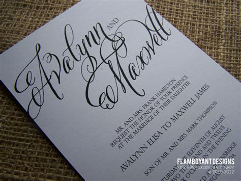 how to write calligraphy for wedding invitations chic calligraphy wedding invitations by flamboyant designs