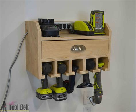how to build a charging station cordless drill storage charging station her tool belt