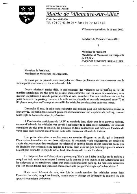 Lettre De Remerciement Mairie Actualit 233 Lettre De La Mairie 224 L Asv Club Football A S Villeneuve Sur Allier Footeo