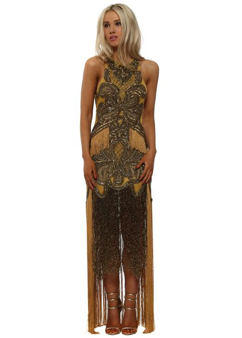 starry eyed gold tassel dress