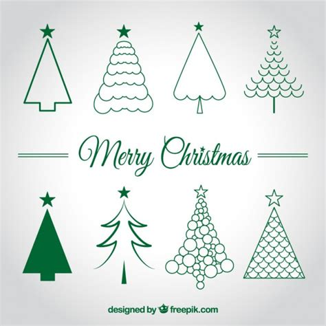 christmas trees sketches vector free download
