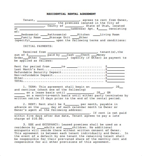 simple lease agreement template rental lease agreement 5 free sles exles format