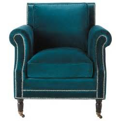 Armchair With Casters Velvet Armchair In Peacock Blue Baudelaire Maisons Du Monde
