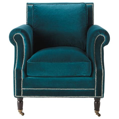 In A Blue Armchair by Velvet Armchair In Peacock Blue Baudelaire Maisons Du Monde