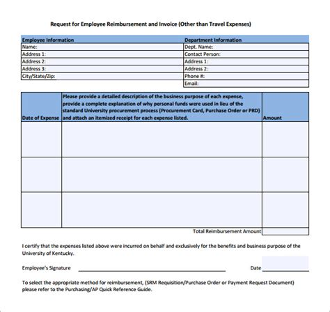 sle expense reimbursement form 8 download free