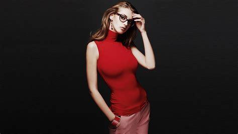 wallpaper girl black red dress girl glasses black background wallpaper
