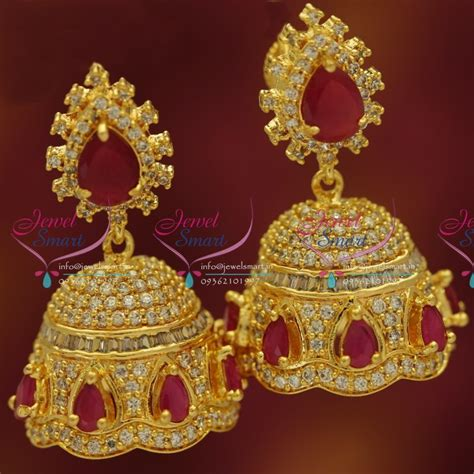 fancy jhumka earrings er5420 cz ruby screwback jhumka gold plated fancy dulhan earrings buy