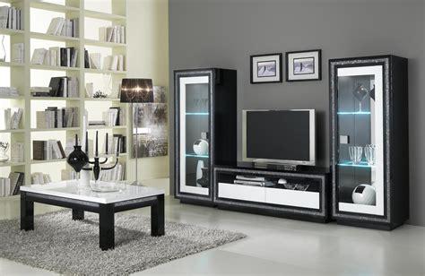 cuisine meuble tv design laqu 195 169 blanc et noir doria