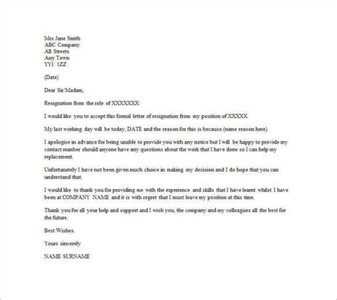 Resignation Letter Or Email by 10 Email Resignation Letter Templates Free Sle