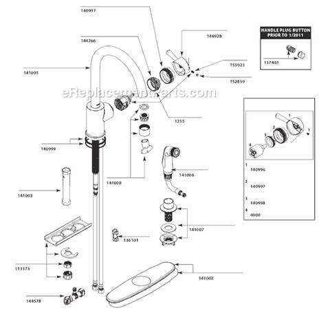 moen kitchen faucet parts diagram moen 7106 parts list and diagram ereplacementparts