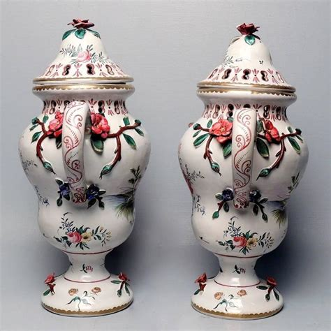 decorated fishing urn pair of large veuve perrin faience majolica lidded