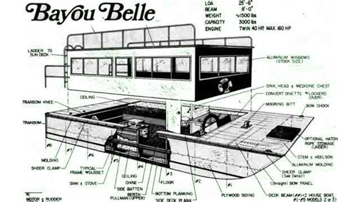 House Boat Plans Diy Designs Houseboat Blueprints