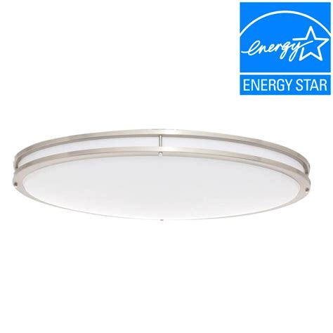 Low Profile Led Ceiling Light Envirolite 32 In Brushed Nickel White Low Profile Led Ceiling Flushmount Shop Your Way