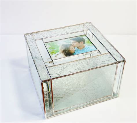 Glass Gift Card Box - elegant stained glass wedding keepsake box reception gift card