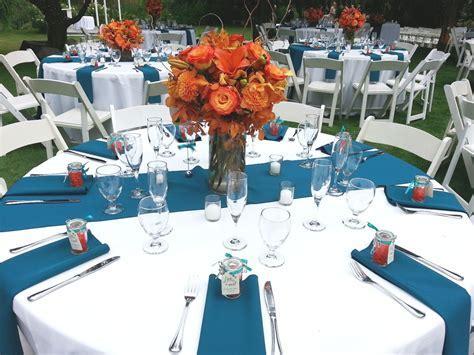 Dark teal and Orange wedding reception   Outdoor Wedding