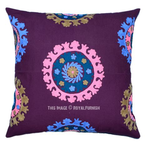 24 Inch Pillows by 24 Quot Inch Blue Floral Suzani Indian Embroidered Pillow