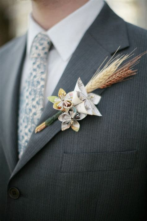 origami boutonniere pin by something borrowed portland vintage rentals on