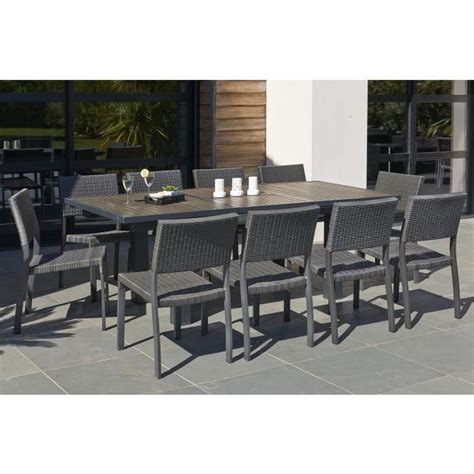salon de jardin extensible ensemble table extensible de jardin 160 220 cm 6 chaises r 233 sine tress 233 e anthracite achat