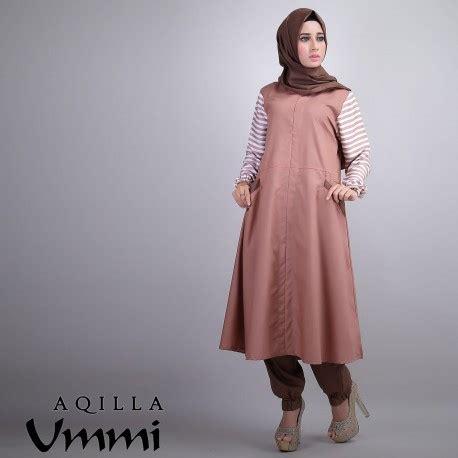 Tunik Salur Black aqilla brown baju muslim gamis modern