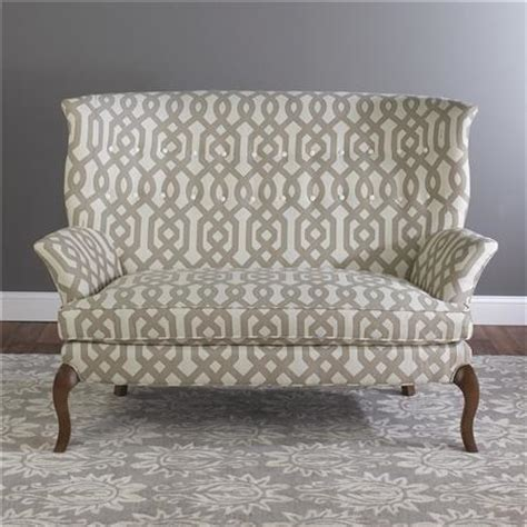 patterned couches high back settee shades of light