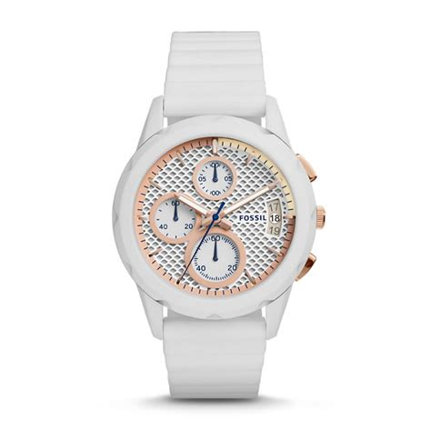 modern pursuit chronograph white silicone fossil