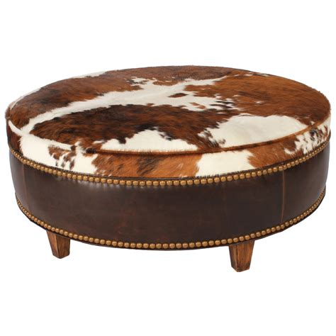 48 round ottoman ranch collection round tricolor cowhide ottoman 48 inch