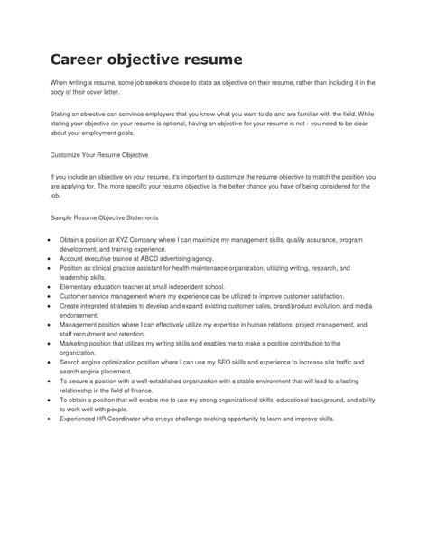 exles of career objectives 12 general career objective resume slebusinessresume