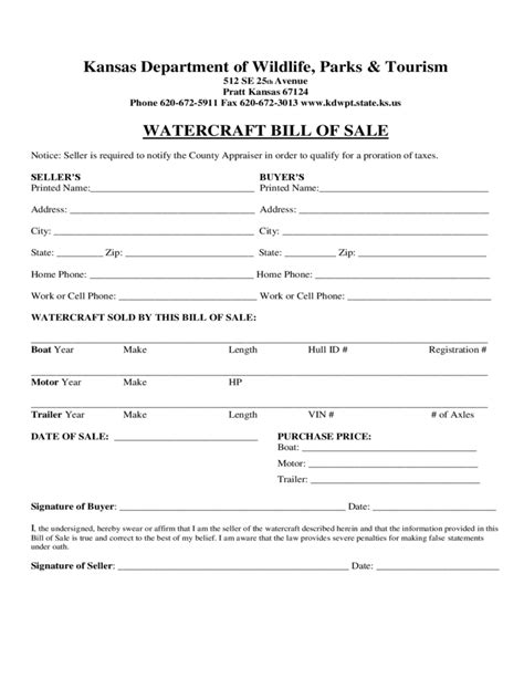 sle trailer bill of sale watercraft bill of sale form kansas free