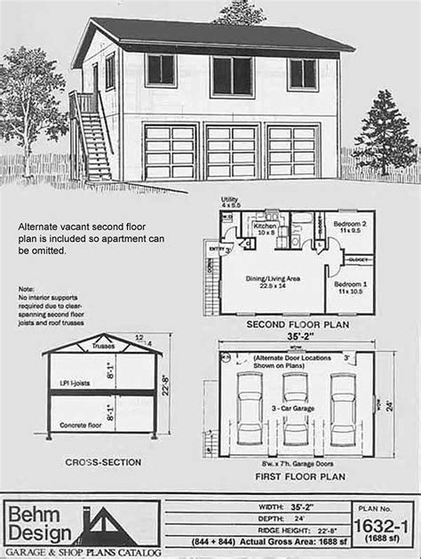 garage apartment plans 2 bedroom garage plans three car two garage with 2 bedroom