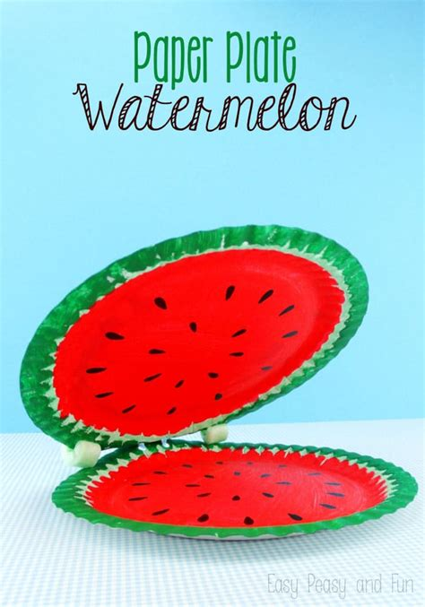 Watermelon Paper Craft - paper plate watermelon paper plate crafts easy peasy