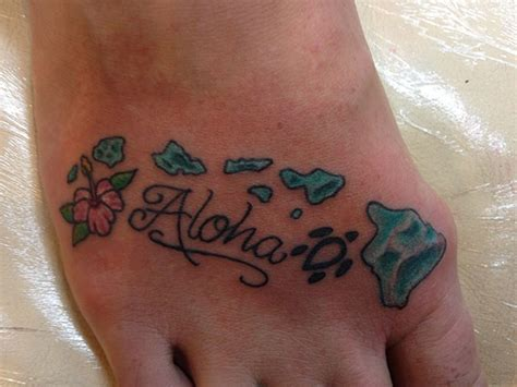 hawaiian flowers tattoos on foot