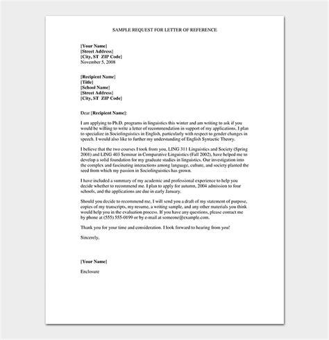 formal reference letter format sample letters