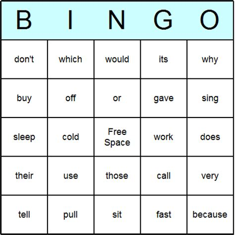 2nd grade cards templates sight word worksheet new 918 sight word bingo printable cards
