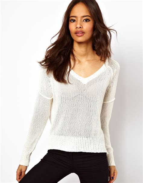 Sweater Tamiya Cloth 1 lyst wal g asos sheer mesh cropped v neck sweater in white