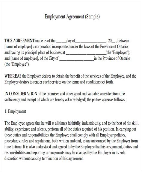 work contract templates agreement contract sle 7 exles in word pdf