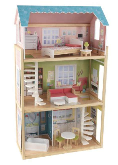 tall doll house nib play wonder 3 level wooden dollhouse for dolls 12 inches tall w furniture ebay