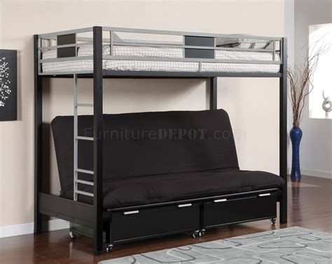 loft beds with futon cm bk1024 clifton bunk bed w futon base optional drawers