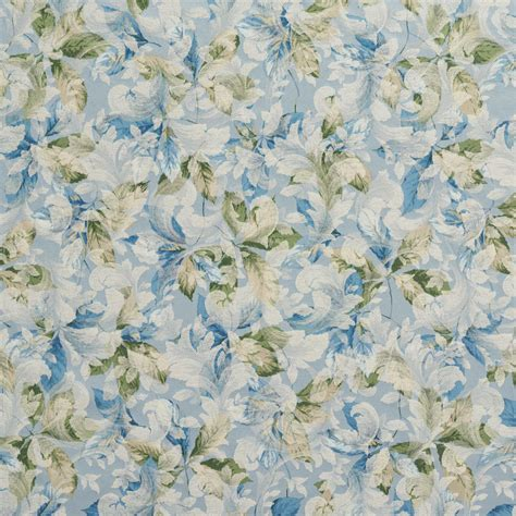 f826 blue green ivory floral leaves jacquard woven