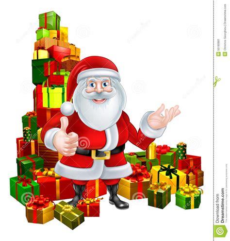 cartoon santa and gifts stock vector image of corner