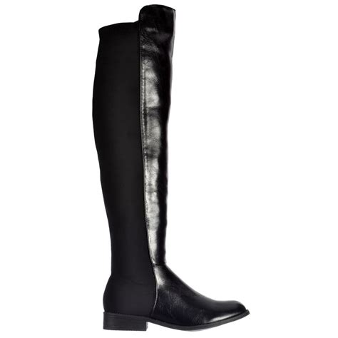 wide thigh high boots shoekandi wide stretch thigh high the knee flat
