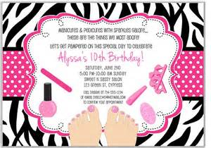 spa birthday invitation template zebra pedicure spa birthday invitations